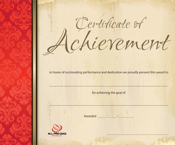Certificate Of Achievement  All Pro Dad  All Pro Dad