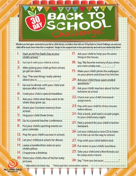 30 day back to school challenge